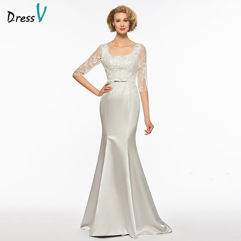 Dressv Square Neck Half Sleeves Trumpet Mother Of Bride Dress Sweep Train Mermaid Sequins Lace Long Mother Evening Gown Custom