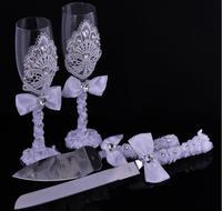 4pcs Set Luxurious Wedding Gift Set Goblet Diamond Cake Scoop Cake Knife Set Personalized Decoration Party