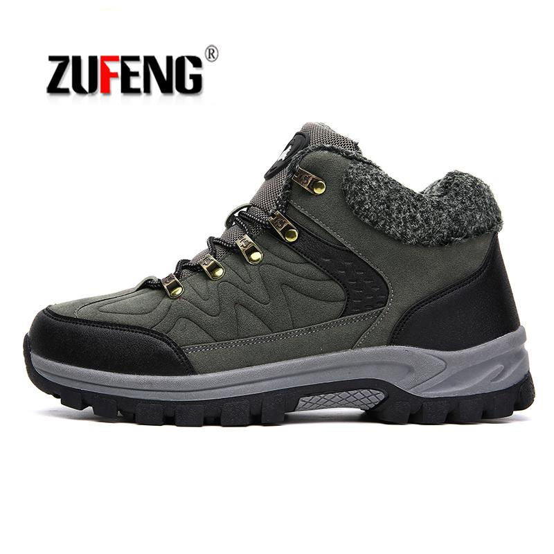 Big Size 38-48 Winter Hiking Boots Men Winter Snow Boots Waterproof Climbing Outdoor Sports Sneakers For Camping Trekking Shoes bolangdi men hiking shoes sports sneakers man athletic shoes waterproof breathable climbing camping outdoor shoes big size 39 48