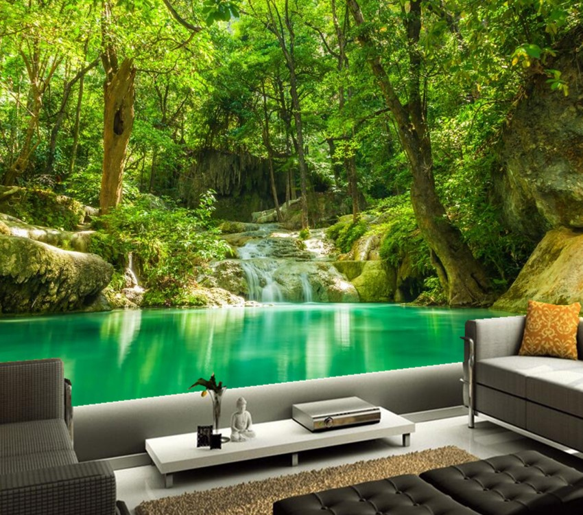 Living Room Jungle aliexpress : buy custom 3d murals,tropics forests waterfall