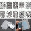 2 Unids/set Suave Manicura Sello Stamper + Raspador de Uñas Clear Jelly Transparente Plantilla de Konad Stamping Nail Art Placas