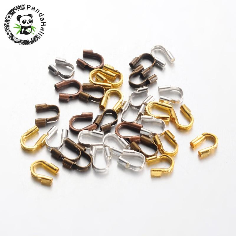 5000pcs 5x4x1mm Environmental Rack Plating Brass Wire Guardians Findings, Lead & Cadmium & Nickel Free, Mixed Color, Hole: 0.5mm