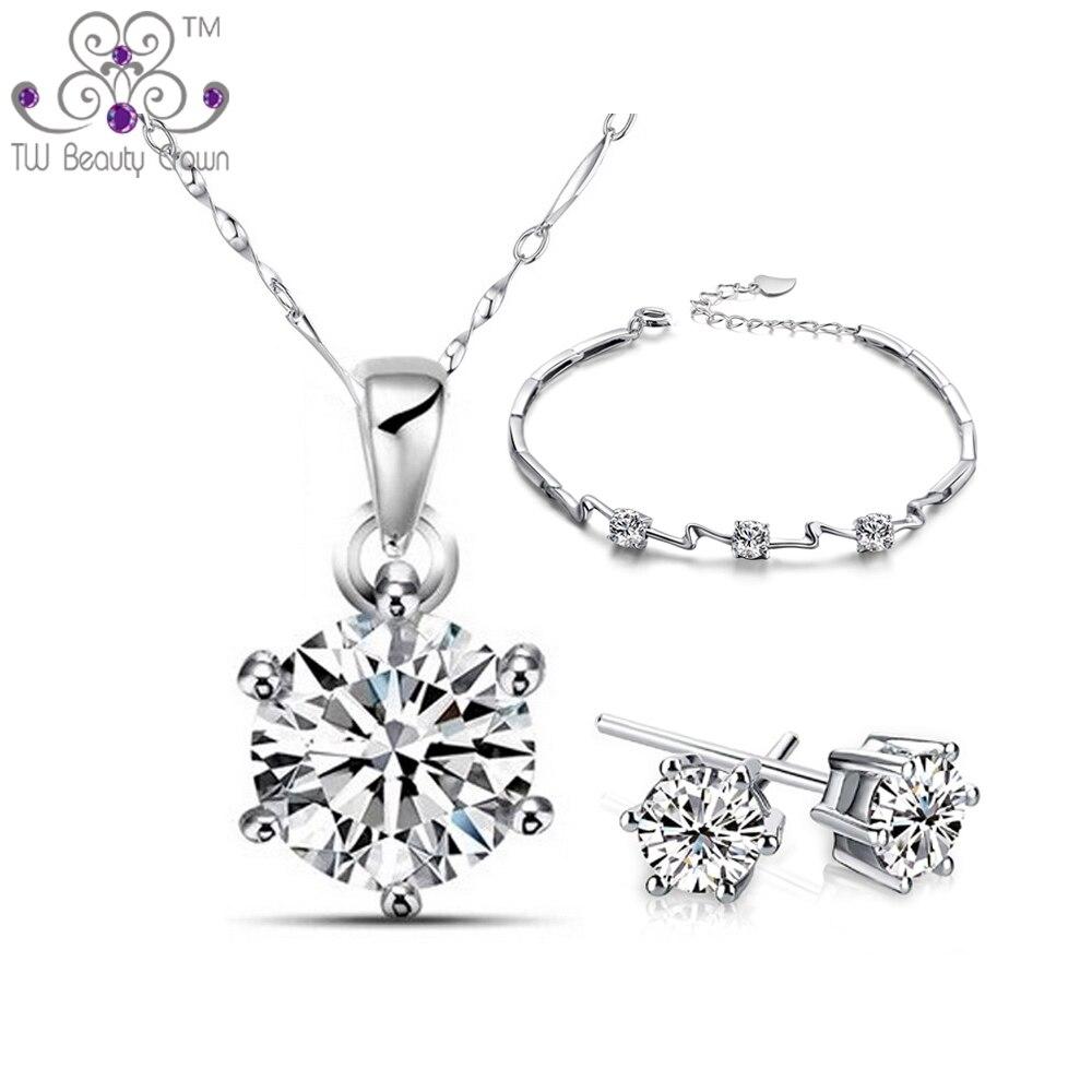 Réel 925 Argent 8 Coeurs 8 Flèches Blanc Cubique Zircone Collier Boucles D'oreilles Bracelet Mode Mariage & Fiançailles Bijoux Ensembles