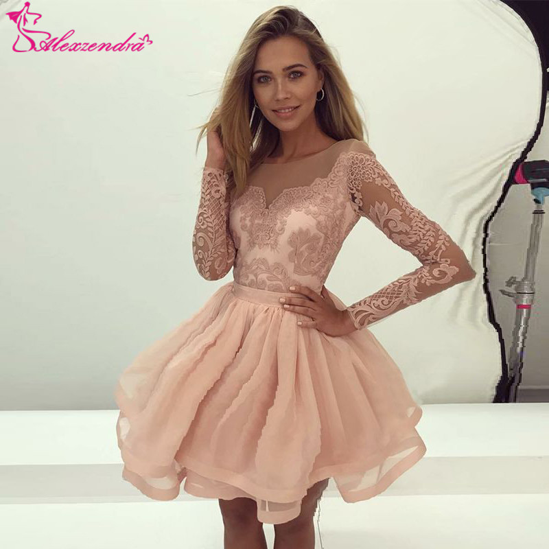 Alexzendra Short Organza Lace Prom Dresses 2019 Long Sleeves Short Party Dresses Plus Size Customize