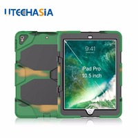 Case for iPad Pro 10.5 Camouflage Armor Shockproof Case with Screen Protector Heavy Duty Cover for iPad Pro 10.5'' 10.5 inch