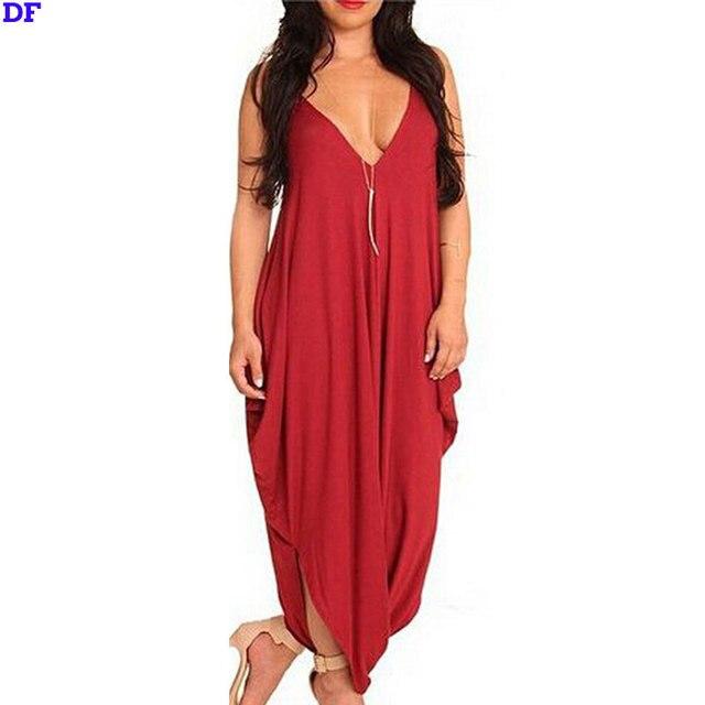 Глубокий V Красный Мода Женщины Комбинезон 2016 Новый Плюс Размер Playsuit Свободные Длинные комбинезоны Женские Комбинезон Девушки Вырезать Комбинезон комбинезоны