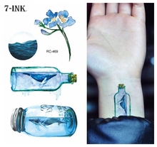 Waterproof Temporary Tatoo sticker painting colorl Sea Drifting Bottle tatto Water Transfer fake  flash tattoo 10.5*6 cm