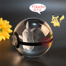 Elegent Crystal Pokemon Design Pikachu Ball Crytal Ball Size 50mmx50mm With Led Base For Gift dragonite 3d crystal ball pokemon go light glass ball engraving round with black line ball led colorful base child s gift