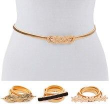 Oro en forma de flor cinturones elásticos para mujer Stretch Skinny cintura  cinturón faja de cinturón mujer cinturón lujos mujer. 6fb799f85b88