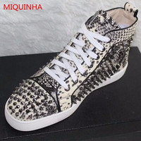LTTL Python Embossed Leather High Top Men Trainers Round Toe Lace Up Studded Men Flat Casual