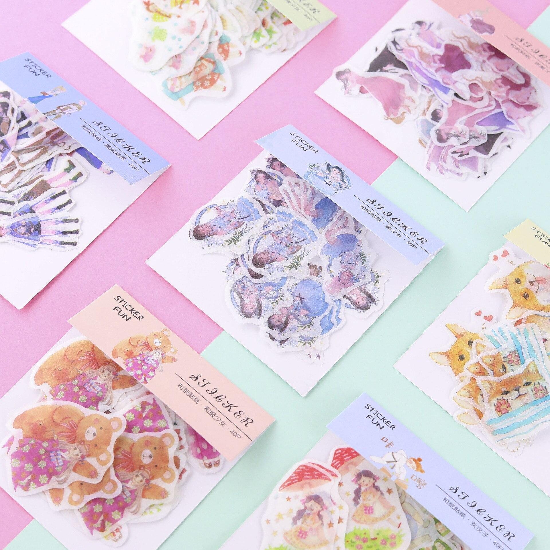 30pcs/pack Cute Fairy Sticker Decoration DIY Album Diary Scrapbooking Label Sticker Kawaii Stationery