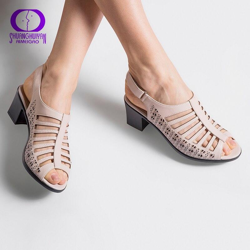 AIMEIGAO 2018 Туфли с ремешком и пряжкой женские сандалии-гладиаторы открытый носок летние туфли толстый каблук женские босоножки из мягкой кожи обувь большого размера