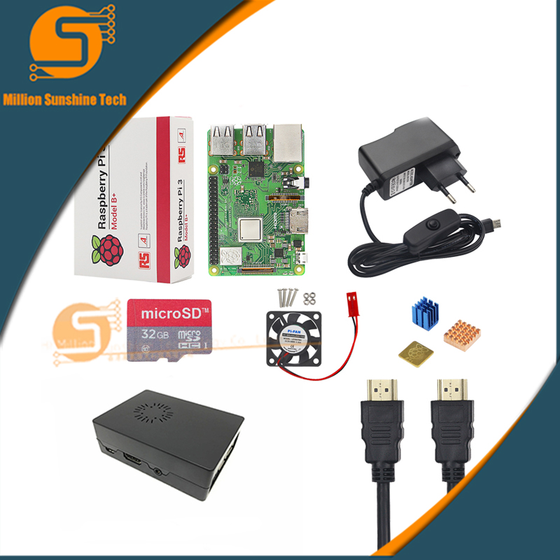 UK Raspberry Pi 3 Model B+/3 Starter Kit + Case + 16 /32G SD Card + Fan + Power Adapter + HDMI Cable + Heat Sink For  RPI 3/3b+