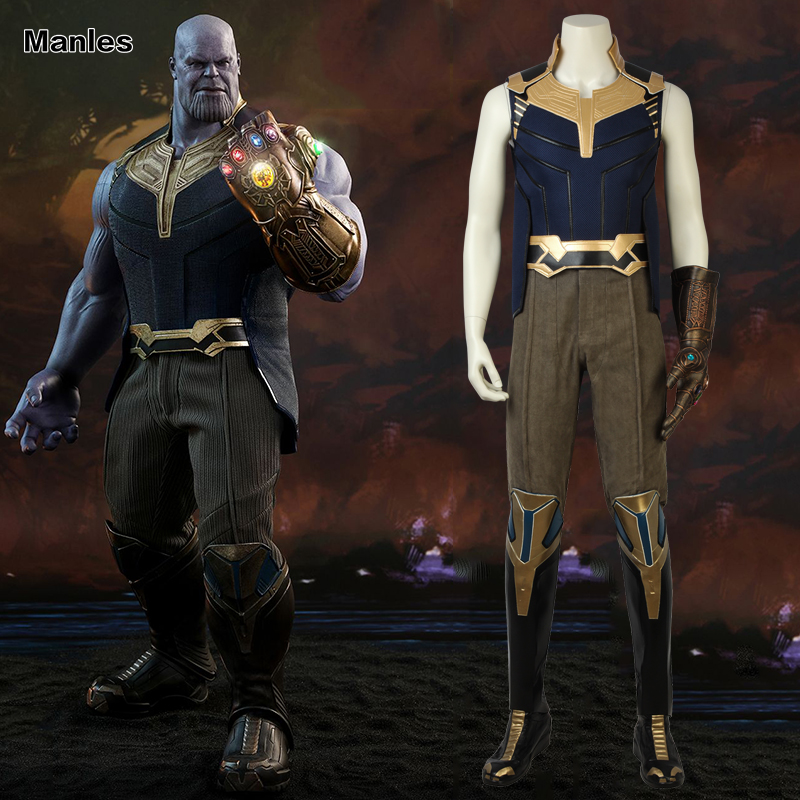 Thanos Cosplay Costume Avengers Infinity War Cosplay Outfit Halloween Clothes Adult Men Full Set Carnival Party Suit With Boots