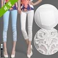 Plus Size S-4XL 2017 New Summer Style Women Elastic Capris Solid Casual Lace Crochet Diamonds Slim Pencil Pants 3 Colors B630