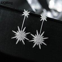Fashion 925 Sterling Silver Snowflakes Stars Stud Earrings Jewelry Pendientes Brincos Fashion Jewelry