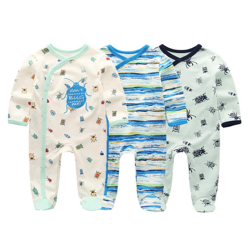 Objective 2019 Newborn Unisex Cartoon Romper 3pcs Baby Long Sleeve Clothes Set O-neck Cotton Style Boys & Girls Overalls Pajamas Bright And Translucent In Appearance
