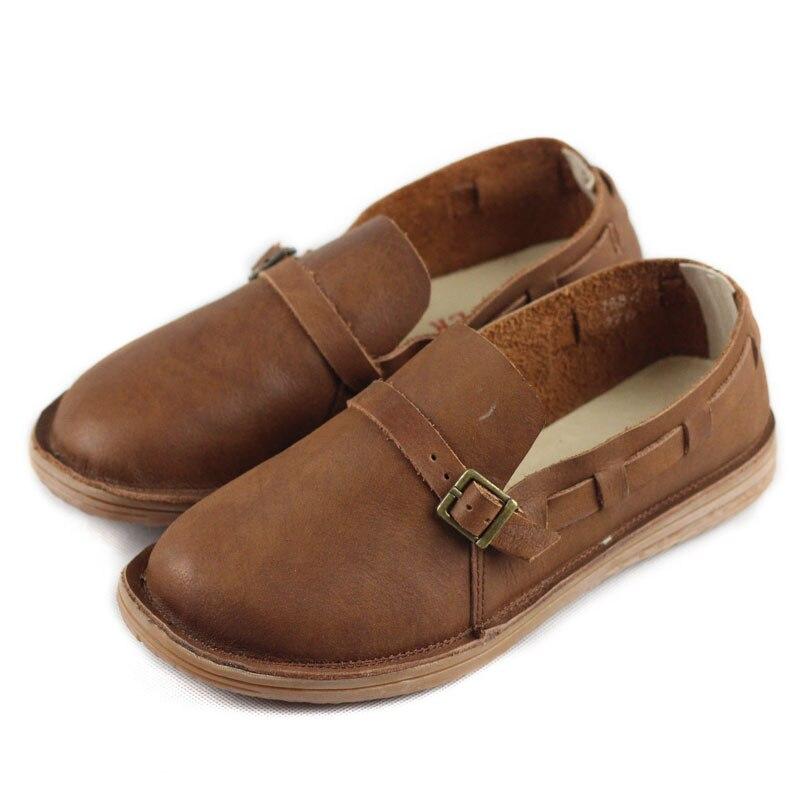 Femmes Oxford chaussures en cuir véritable automne femmes chaussures bout rond sans lacet dames plat S hoes décontracté chaussures femme conduite chaussure