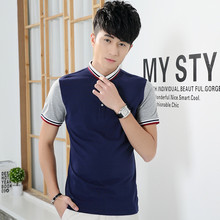 New fashion Original Short-Sleeve Male Turn-Down Collar Polo Shirt Slim Cotton Polos Breathable Top Casual Patchwork Clothing