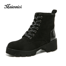 MAIERNISI Ankle Boots Women Shoes Platform High Heels Lace Up Buckle Strap Thick Heel Short Boot Ladies Zipper Footwear