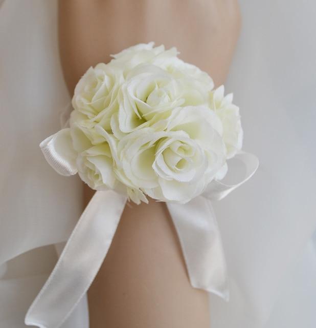 Elfenbein Kunstliche Braut Brautjungfer Handgelenk Seide Hochzeit