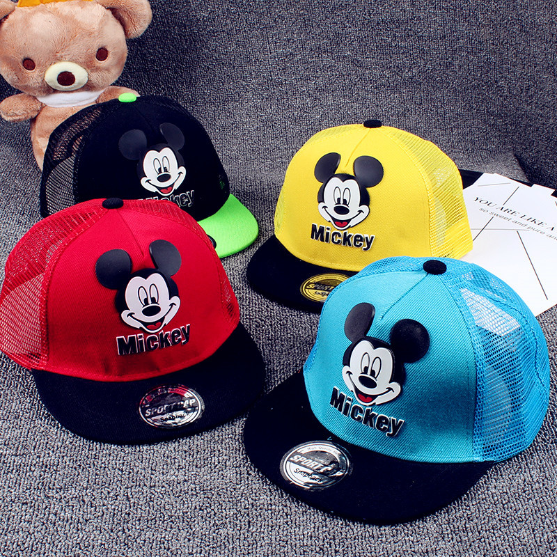 New fashion children's hat cartoon mickey embroidery baby hats Adjustable boys girls cap for kids 2-12 year clothing accessories sharks ladybird readers level 3