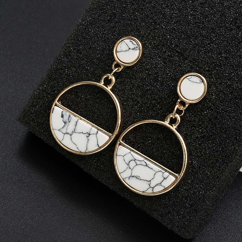Simple Style Fashion Silver Gold Color Earrings for Women Square Round Geometric Hanging Earrings 18 Female Pendientes Jewelry 34