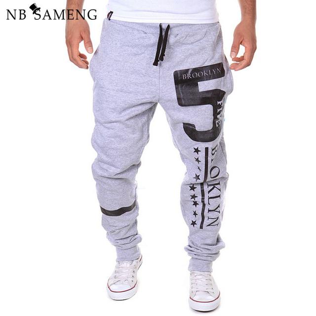 2016 nova moda mens harem pants calças dos homens corredores sweatpants casual carta de impressão hip hop calças calças sólidos 13m0465