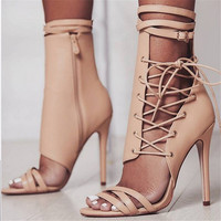 Sexy Gladiator Women Pumps High Heels Peep Toe Lace up Cross tie High Heels Women 12cm Thin Heel Party Shoes size 35 40