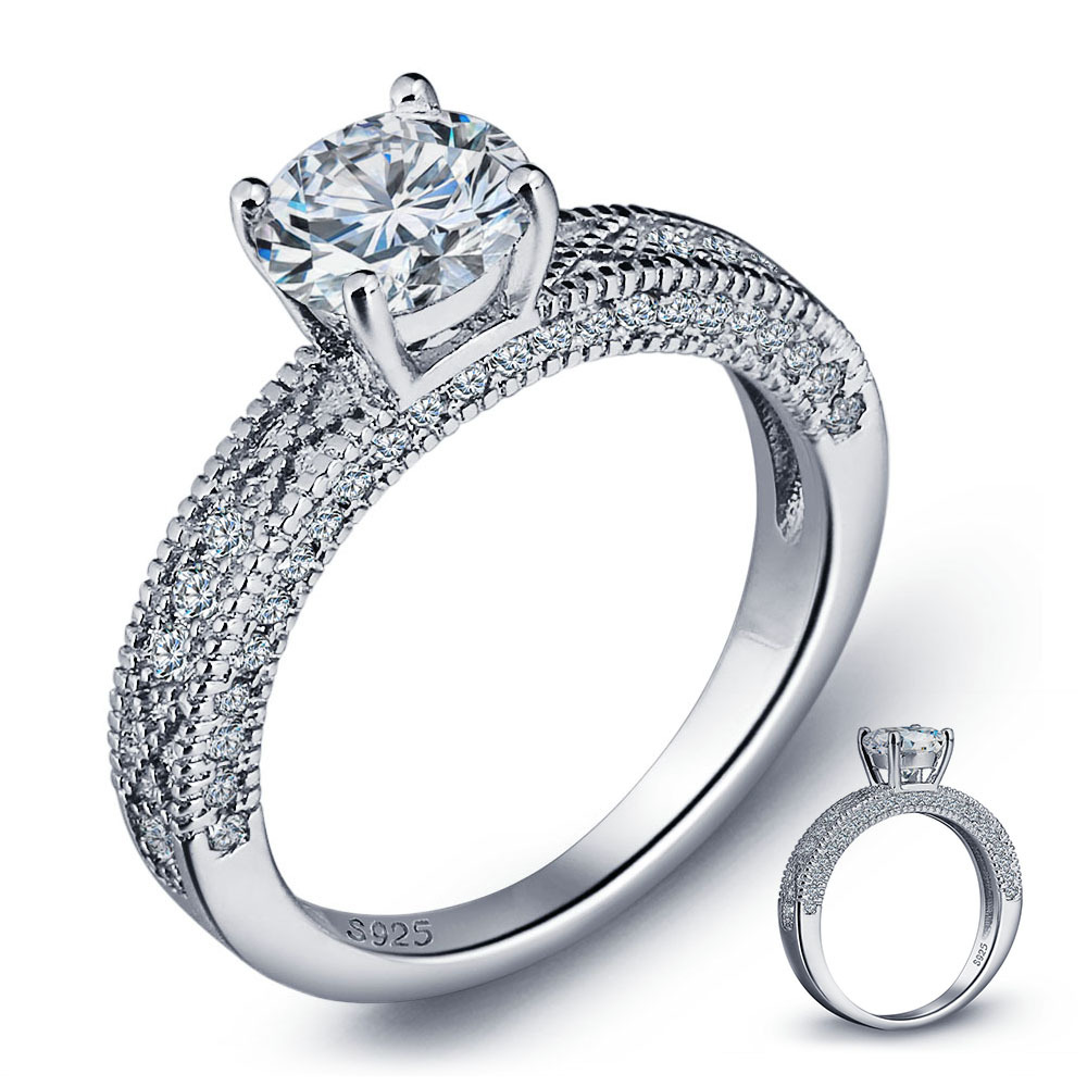 Винтажный стиль 1.25 ct создаем Твердые 925 Серебро Свадебные Обещание Обручальное кольцо для женщин ювелирные изделия