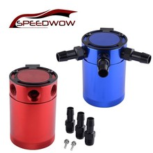 SPEEDWOW Universal Aluminum 3-Port Air-Oil Separator Oil Catch Can Tank Auto Vehicle Waste Gas Recover Pot