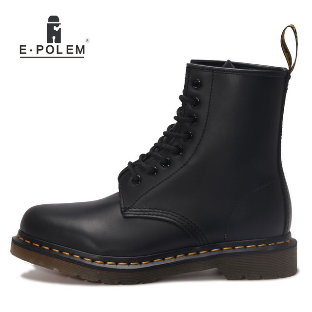 2017 New England Style Women Genuine Leather Black Ankle Martin Boots Tide Winter Fashion Unisex Brand Motorcycle Boots