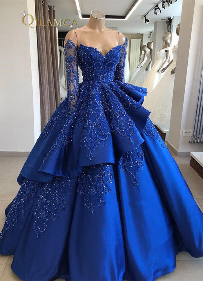 2019 Custom Made Sweetheart Satin Floor Length Beads Crystal Ball Gown Royal Blue Quinceanera Dress Prom