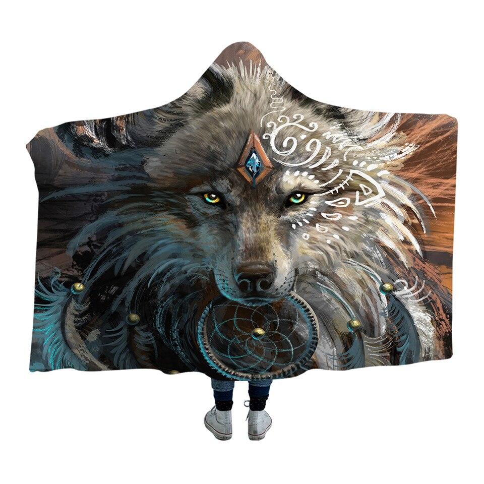 Wolf Warrior Dreamcatcher Native American Design Hooded