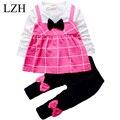 Lzh bebés arropa sistemas red stripe t-shirt dress + bowknot pantalones 2 unids outfit suit ropa para niños de otoño ropa de los niños
