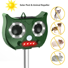 Outdoor Ultrasonic Solar Pest Repeller Animal Mouse PIR Sensor Garden Bird Cat Dog Fox Repellent Keep Animals Away