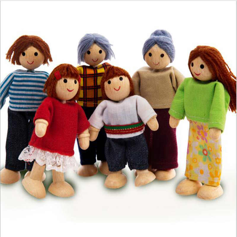 Children Whole Family Wooden Joint Moving Dolls Pretend Play  Kids Wood Puppet Interactive Model Dolls for Baby Birthday Gift