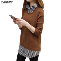 Autumn Winter Knitted Sweater Women 2017 Fashion Shirt Collar Fake Two Pieces Medium Length Pullovers Sweater