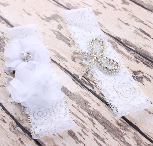 Wholesale Sexy White Stockings Wedding Garter Sets With Flower Ribbon Pearl Bridal Belt Lace Bride