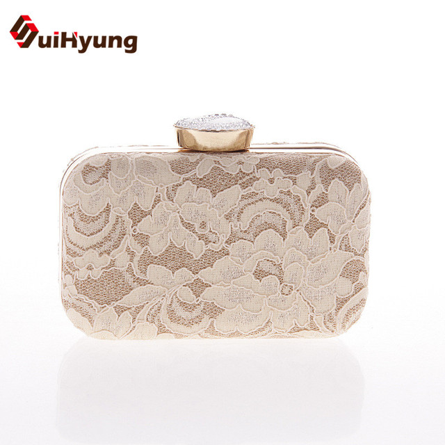New Women Diamond Hard Case Day Clutches Exquisite Embroidered Lace Evening Bag Wedding Party Handbag Purse Chain Shoulder Bag