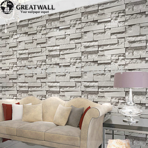 Gran pared pared de ladrillo papel tapiz de fondo gris para sala de estar piedra 3d wallpaper - Papel pared ladrillo ...