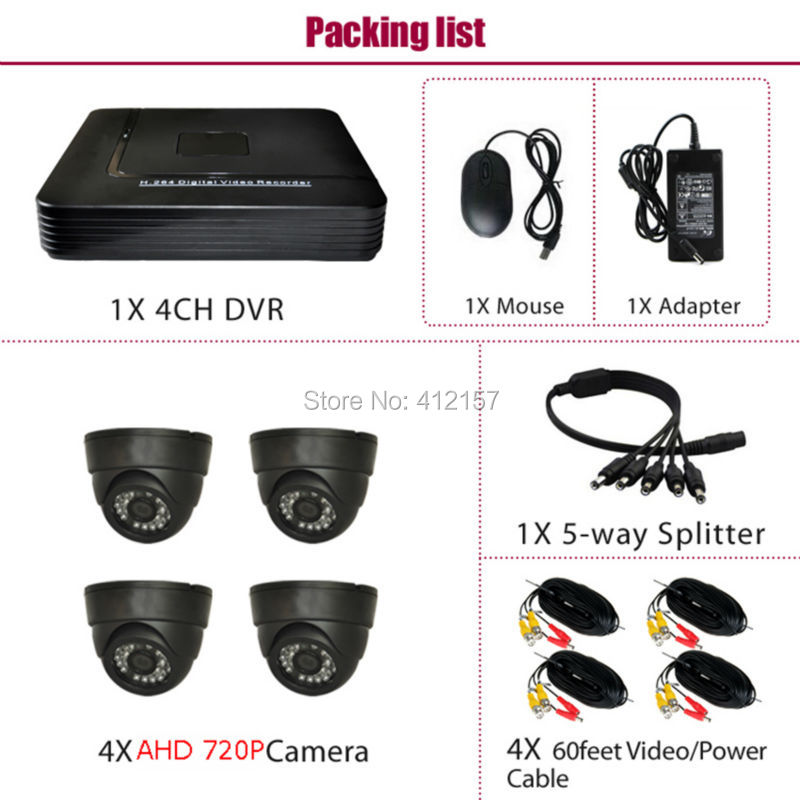 Maison CCTV intérieur AHD 720 P dôme système de caméra de sécurité 4CH HD DVR PC téléphone portable vue à distance P2P 1200TVL Kit de Surveillance vidéo - 2