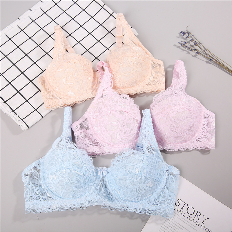 Sleep Lace Embroidery Flowers Lingerie A B C Cup Bra Sexy Push Up Bra Deep V Brassiere Thick Cotton Women Underwear big size bra