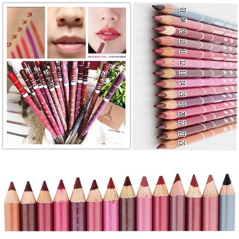 12pcs/lot 15CM Waterproof Lip Liner Pencil Women's Professional Long Lasting Lipliner Lips Makeup Tools M01248