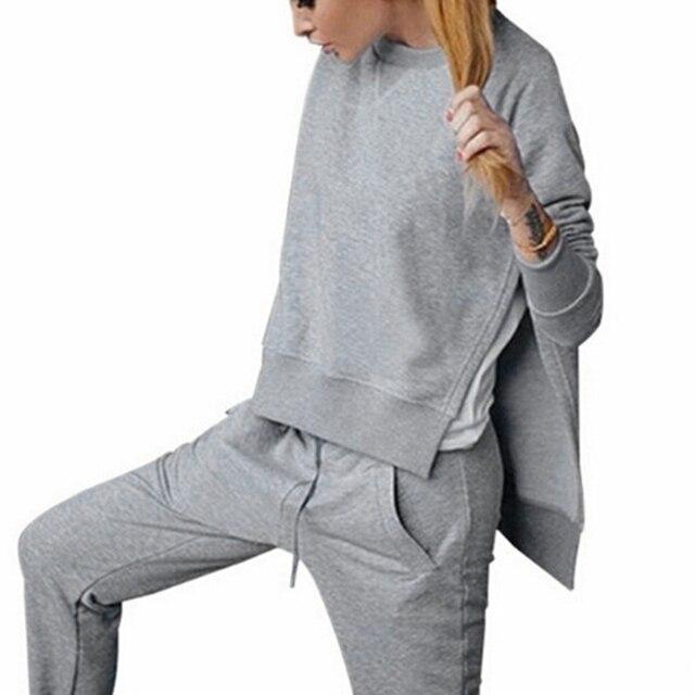 2017 Autumn Winter Women Cotton Tracksuit 2 Piece Set Clothing Solid Sportswear Suit Woman Irregular Hoodies Set Costumes