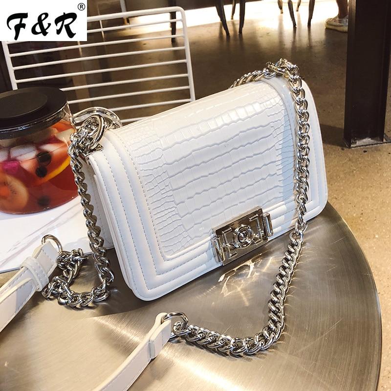 Luxury Design Women Chains Rivets Shoulder Crossbody Bags for Women Clutch Handbag Female Crocodile Pattern Leather Bag Channels stylish chains and rivets design women s tote bag