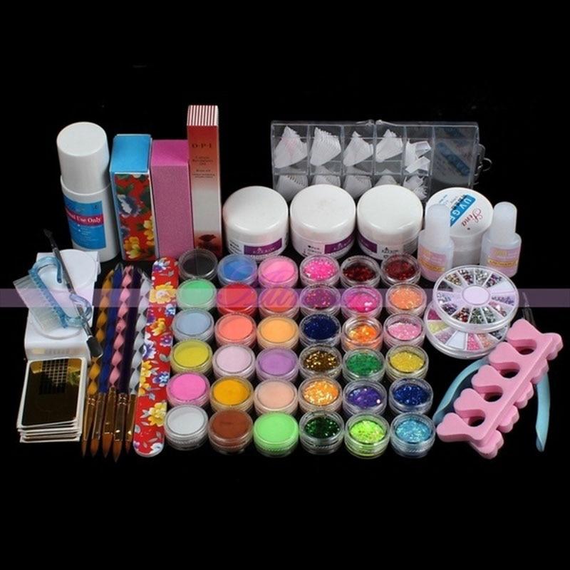 Superior Nail Art Polish Kits For Women Acrylic UV Gel Nail Art Equipment Manicure Tips Beauty Brush Pen Glue Brand Makeup set pro nail art uv gel kits tools pink uv lamp brush tips glue acrylic powder set 20 2018