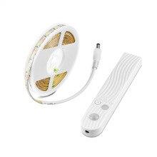 Tira de luces LED a prueba de agua IP65, lámpara con Sensor de movimiento PIR, luz LED flexible para la cama, para armarios, escaleras y cocina