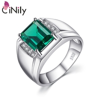 CiNily Authentic. Solid 925 Sterling Sliver Men Luxury Created Emerald Fine Jewelry for Men Ring Size 8 12 SR013