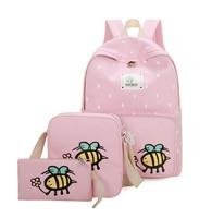 3ピース/セットポルカドット印刷女性のバックパックかわいい軽量キャンバスbookbagsミドル高校十代の少女mochila